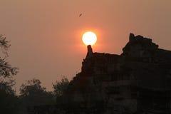 Zonreeks van Angkor Wat in de ochtend, Kambodja Stock Afbeelding