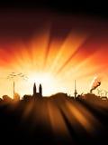 Zonsondergang 1 van het Silhouet van de Stad van Bremen Stock Afbeeldingen