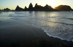 Zonsondergang 2 van het strand Stock Afbeelding