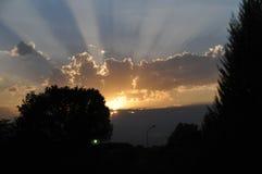Zonsondergang, Royalty-vrije Stock Afbeeldingen