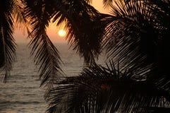Zonsondergang aan het Arabische Overzees Stock Afbeelding