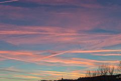 Zonsondergang achter Landgrave in Jena Royalty-vrije Stock Fotografie