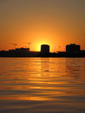 Zonsondergang achter St. Petersburg Stock Foto