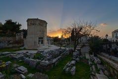 Zonsondergang in Aerides, oude Roman markt - Monastiraki royalty-vrije stock fotografie