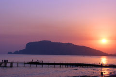 Zonsondergang in Alanya Royalty-vrije Stock Afbeeldingen