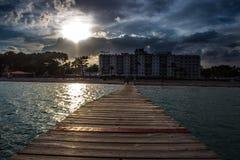 Zonsondergang in Alcudia Mallorca stock afbeelding