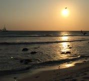 Zonsondergang in Aruba Stock Afbeelding
