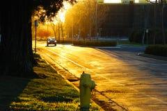 Zonsondergang, auto, brandkraan stock afbeelding