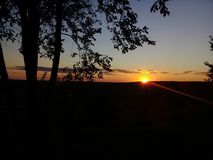 zonsondergang, avond, de zon, hemel stock foto