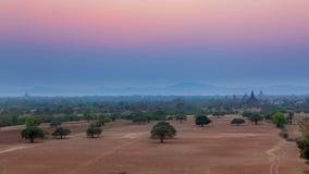 Zonsondergang in Bagan, Birma stock videobeelden