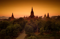 Zonsondergang in Bagan, Myanmar stock afbeelding