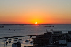 Zonsondergang in Bahia, Brazilië royalty-vrije stock foto's