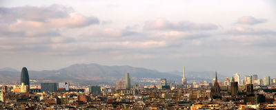Zonsondergang Barcelona spanje Stock Foto's