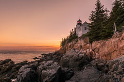 Zonsondergang in Bass Harbor Head Light Stock Fotografie