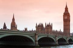 Zonsondergang in Big Ben, klassieke mening Stock Afbeelding