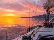 Zonsondergang bij Adriatische overzees Royalty-vrije Stock Foto's