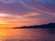 Zonsondergang bij Adriatische overzees Royalty-vrije Stock Foto