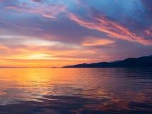 Zonsondergang bij Adriatische overzees Stock Foto
