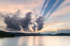 Zonsondergang bij Ashokan-Reservoir. Royalty-vrije Stock Afbeelding