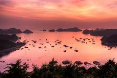 Zonsondergang bij Baai Stock Foto