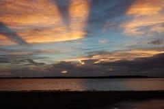 Zonsondergang bij Baai Edisto Royalty-vrije Stock Foto