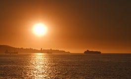 Zonsondergang bij baai Valparaiso Stock Fotografie