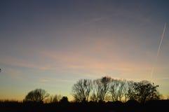 Zonsondergang bij begin van de lente stock fotografie