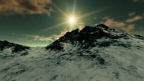 Zonsondergang bij Bergbovenkant royalty-vrije illustratie