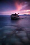 Zonsondergang bij Bonsairots, Meer Tahoe royalty-vrije stock afbeeldingen