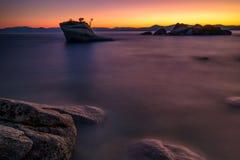 Zonsondergang bij Bonsairots, Meer Tahoe stock foto's