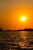Zonsondergang bij Cordoncillo-lagune, La Paz, El Salvador Royalty-vrije Stock Afbeelding