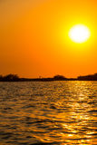 Zonsondergang bij Cordoncillo-lagune, La Paz, El Salvador Royalty-vrije Stock Fotografie