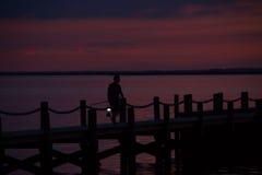 Zonsondergang bij de Baai Stock Afbeeldingen