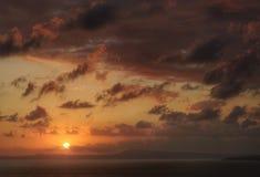 Zonsondergang bij de baai van Napels Stock Afbeeldingen