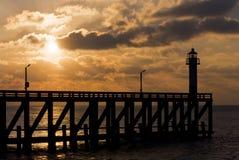 Zonsondergang bij de Belgische kust Stock Afbeeldingen