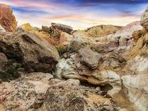 Zonsondergang bij de Geschilderde Mijnen stock foto