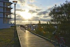 Zonsondergang bij de gouden kust van het paradijspunt Royalty-vrije Stock Afbeelding