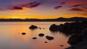 De Zonsondergang van Tahoe stock afbeelding