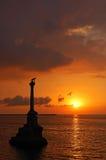 Zonsondergang bij de haven van Sebastopol, stock fotografie