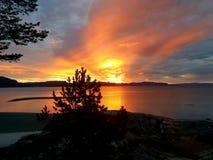 Zonsondergang bij de kust stock afbeeldingen