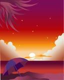 Zonsondergang bij de kust Stock Illustratie