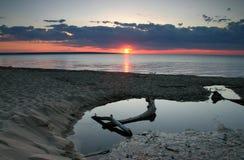 Zonsondergang bij de Meerdere van het Meer Stock Afbeelding