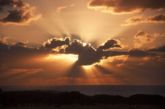 Zonsondergang bij de Middellandse Zee Stock Foto
