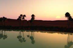 Zonsondergang bij de oase vector illustratie