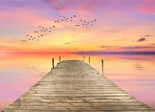 Zonsondergang bij de Pijler Royalty-vrije Stock Foto