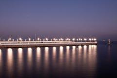Zonsondergang bij de pijler in Sopot royalty-vrije stock afbeelding