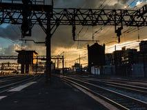 Zonsondergang bij de Terminal royalty-vrije stock foto's