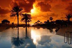 zonsondergang bij de toevlucht van Cyprus Stock Foto's