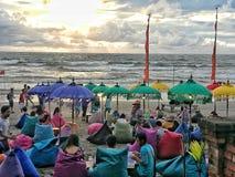 Zonsondergang bij Dubbel Strand Zes Stock Fotografie