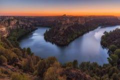 Zonsondergang bij Duraton-rivier Royalty-vrije Stock Afbeelding
